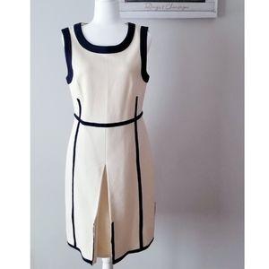 NEW Tory Burch Ivory Black Knit Elegant Dress L